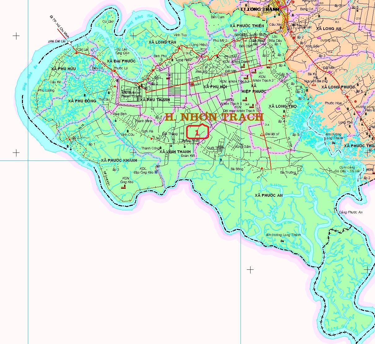 Bản đồ huyện Nhơn Trạch